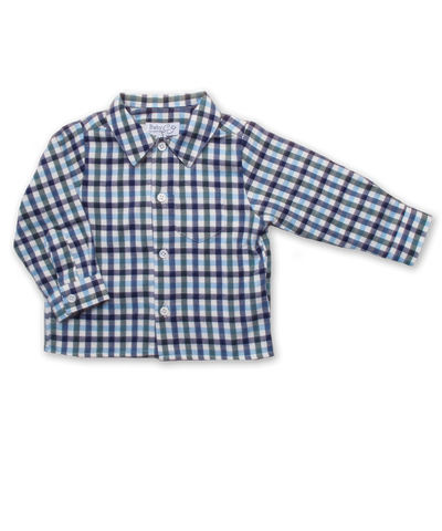 Baby Boy Longsleeve Shirt in Navy/Green/Blue Plaid