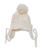 Cashmere Chunky Cable Pom Hat in Creme