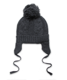 Cashmere Chunky Cable Pom Hat in Derby Grey