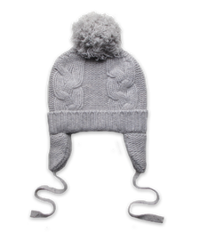 Cashmere Chunky Cable Pom Hat in Silver