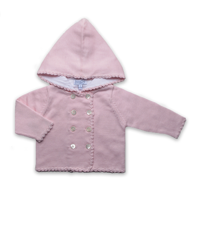 Baby Girl Luxury Cotton Hoodie in Pink with Crochet Trim