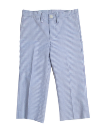 Boy's Slim Pant in Navy Seersucker
