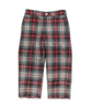 Boy's Slim Pant in White/Red Plaid
