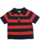 striped cotton sweater polo in navy/red