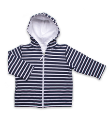 Pique' Cotton Hoodie in Navy and White