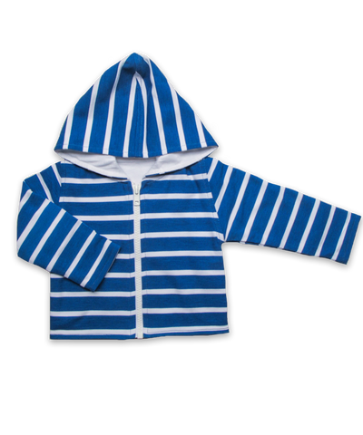 Pique' Cotton Hoodie in River and White