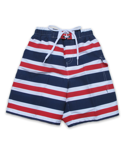 swim trunks, red/navy Contrast Stripe print