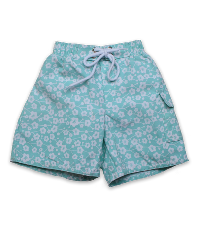 swim trunks in kyoto floral aquamarine