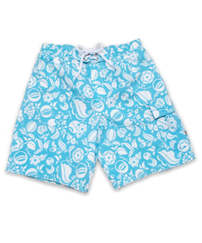 swim trunks, aqua Nouveau Floral print