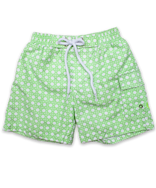 Swim Trunk In Rattan Print Lime