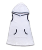 Hooded Terry Dress in White/Navy