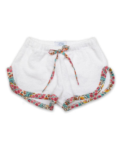 terry shorts with trim in white/Liberty Isabel Susan Multi
