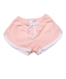 terry shorts with trim in pink/white