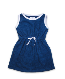 Belted Terry Dress Navy/White