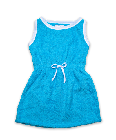 Belted Terry Dress Turquoise/White