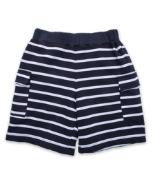 Pique Cargo Short in Navy and White