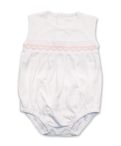 Smocking Shorty in White/Pink