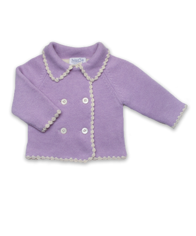 Double-Breasted Cashmere Cardigan in Lavender/Creme