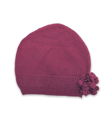 Cashmere Flower Hat in Berry