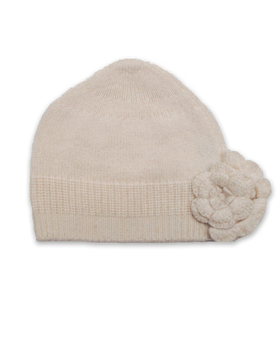 Cashmere Flower Hat in Creme