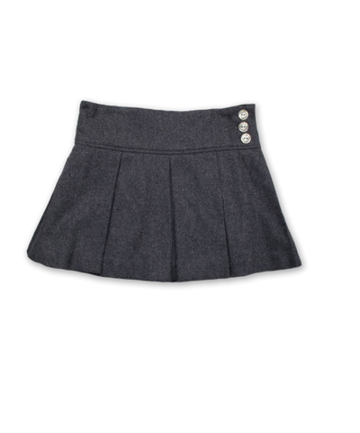 Pleated Skirt in Charcoal Tweed