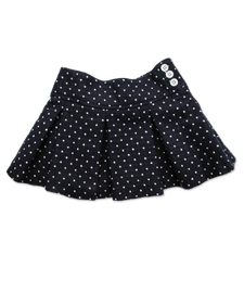 Pleated Skirt in Navy Dot