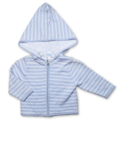 Striped Hoodie with Solid Lining, Blue/White