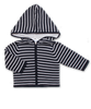 Cotton Striped Hoodie in Navy/White