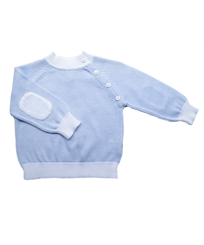 Baby Boy Luxury Cotton Sweater with Patches in Blue/White