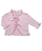 Baby Girl Luxury Cotton Cardigan in Pink with Ruffle Trim