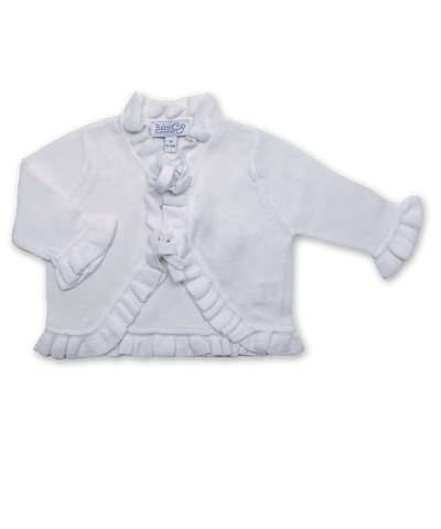Cotton Ruffle Cardigan in White