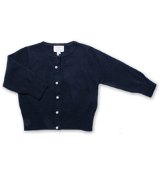 cashmere cardigan with pearl buttons, navy