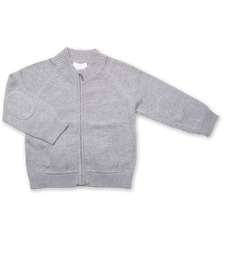 Luxury Cotton Zip Cardigan in Silver