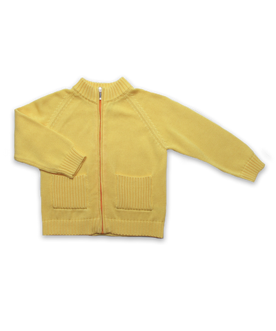Luxury Cotton Zip Cardigan in Yellow