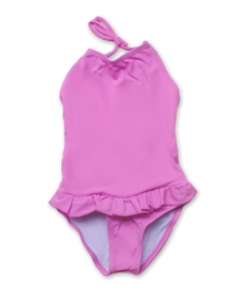baby bathing suit with ruffle skirt in fuschia