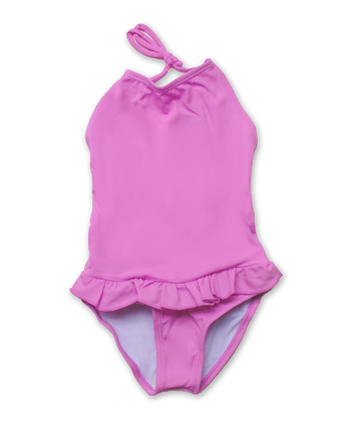 bathing suit with ruffle skirt in fuschia