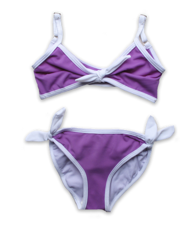 Bikini with Tie in Lavender/White