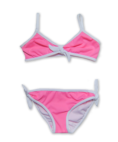 Bikini with Tie in Magenta/White