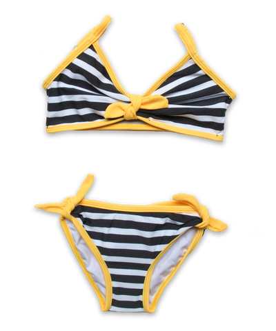 Striped Bikini with Tie in navy/yellow