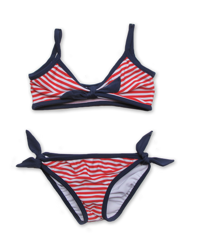 Striped Bikini with Tie in red/white/navy