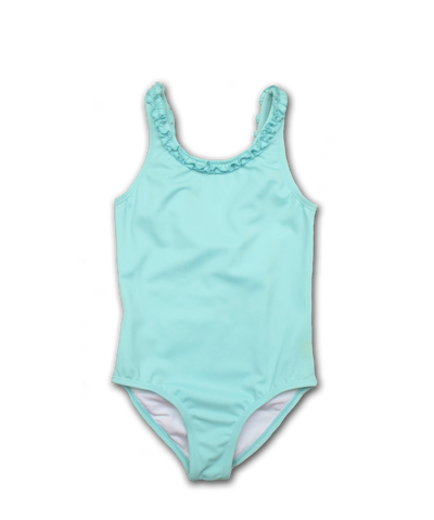 Bathing Suit w/ Ruffle Trim in aqua
