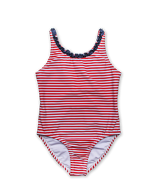 Bathing Suit with Ruffle Trim in Red Stripe/Navy