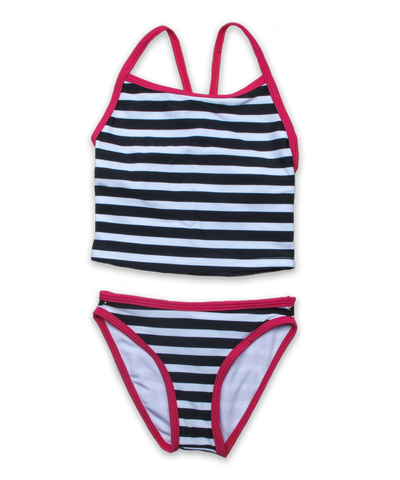 tankini with contrast binding nautical stripe navy/magenta