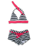 girls' nautical striped halter bikini with boy short navy/magenta