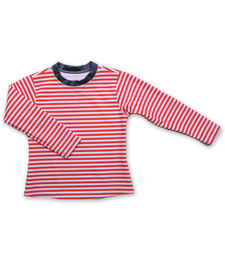 Rash Guard in Red Stripe/Navy