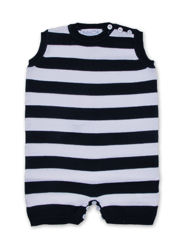 Tipped Striped Jumper w/Contrast in Navy/White