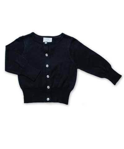 Cotton Cardigan with Crystal Buttons in Navy