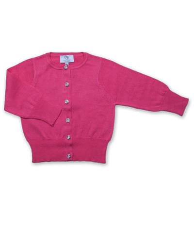 Cotton Cardigan with Crystal Buttons in Raspberry
