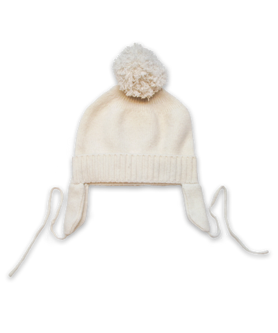 Cashmere Pom Hat in Creme