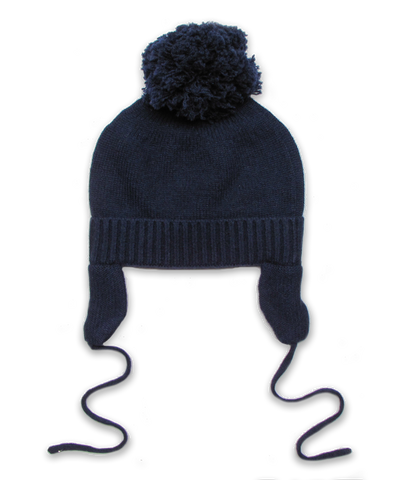 Cashmere Pom Hat in Navy